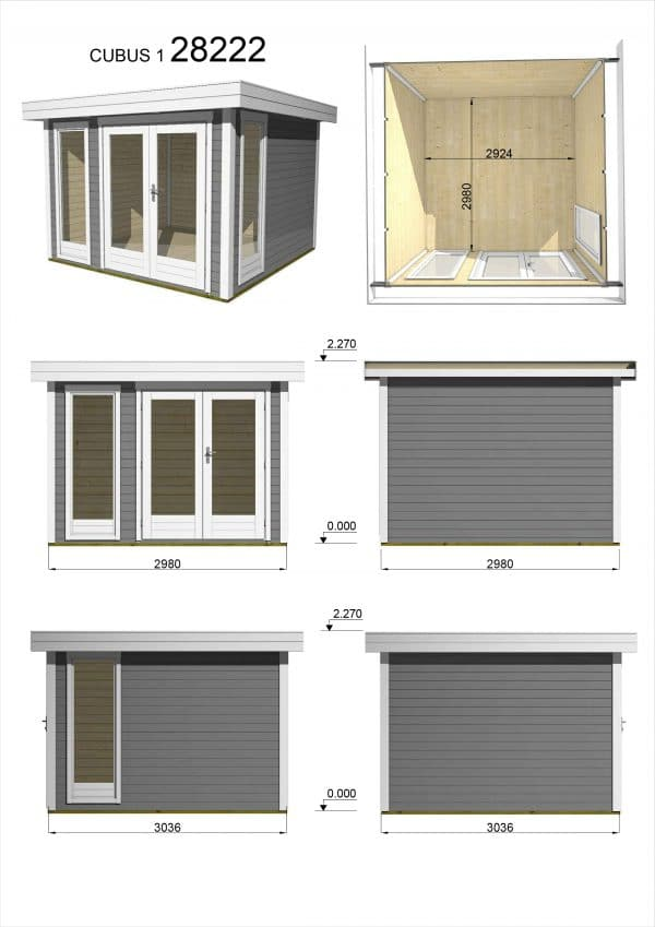 Garden Shed 28mm Cubus 3mx3m