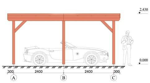 Wooden Carport Greven 5.5mx3.3m 3