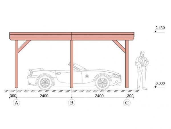 Wooden Carport Trent 5.4mx4m 1