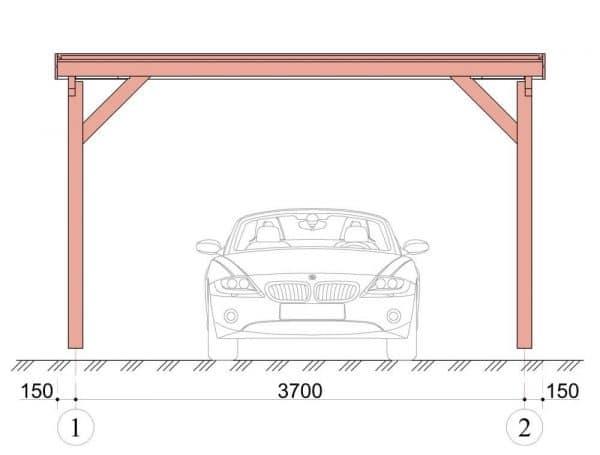 Wooden Carport Trent 5.4mx4m 3