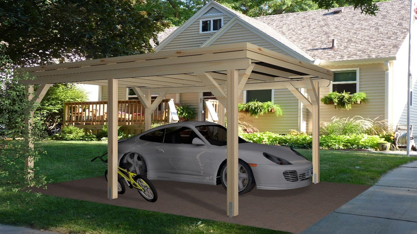 Wooden Carport Trent 54mx4m